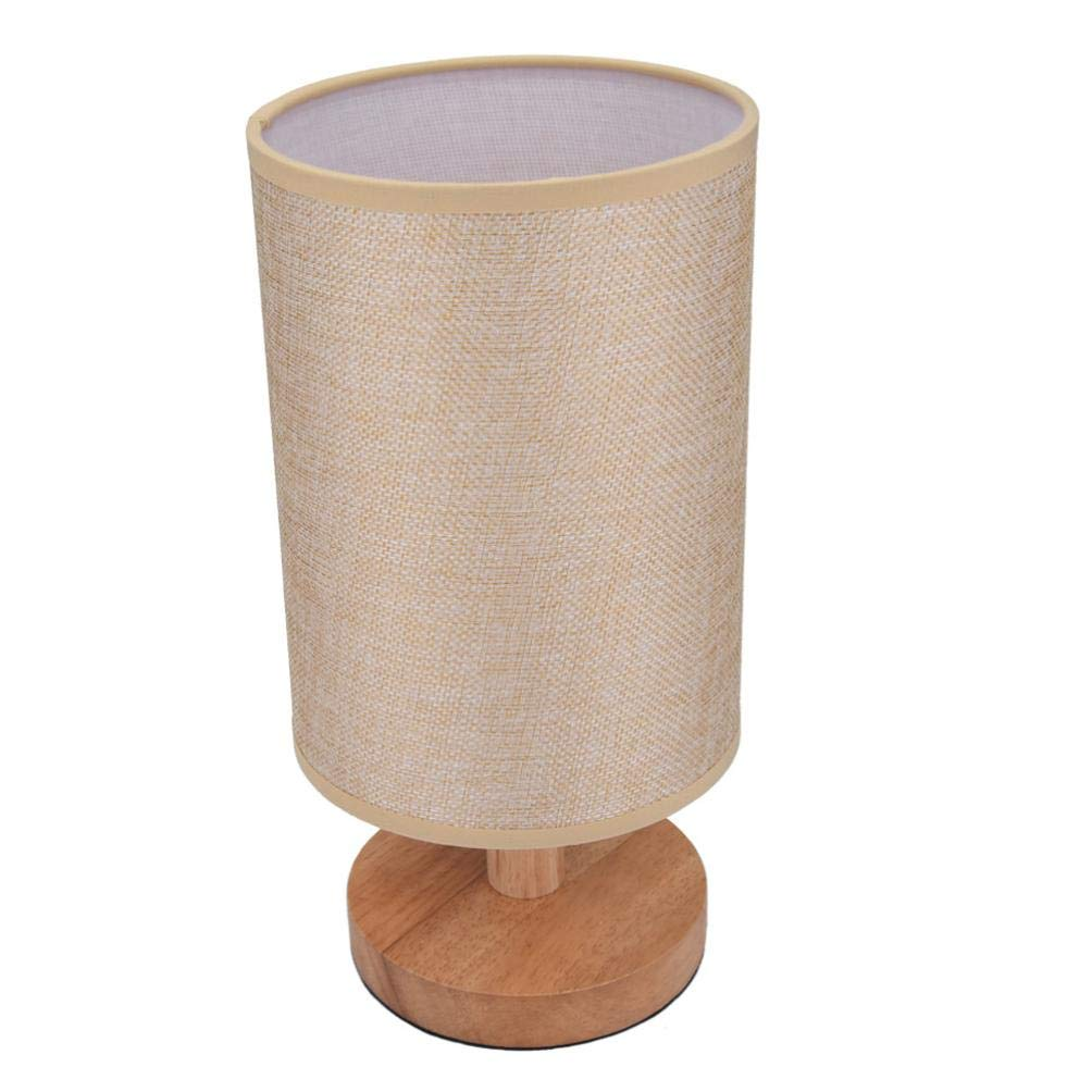 Tuu Bedside Wood Table Lamp,Nightstand Desk Lamp with Round Flaxen Fabric for Bedroom Living Room (Beige)