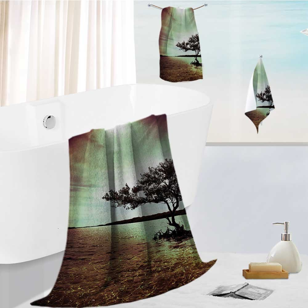 superior bath towel set Lonely Tree Scene College List One of a Kind Machine Washable Silky Satin Soft, Extremely Absorbent 13.8''x13.8''-11.8''x27.6''-27.6''x55.2''