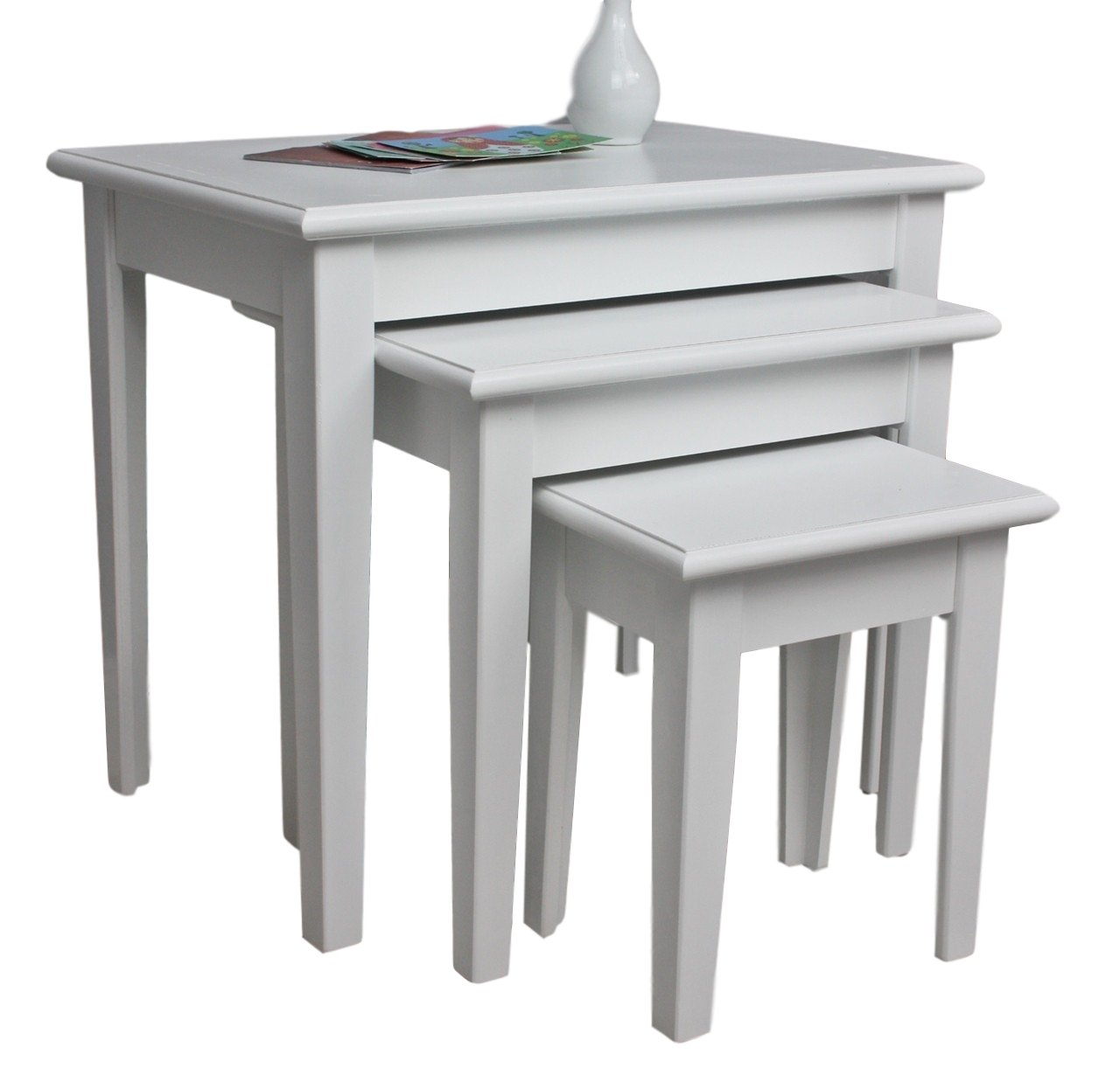 elbmoebel 3X tavolo tavolino bianco antico shabby chic Comodino Set Console