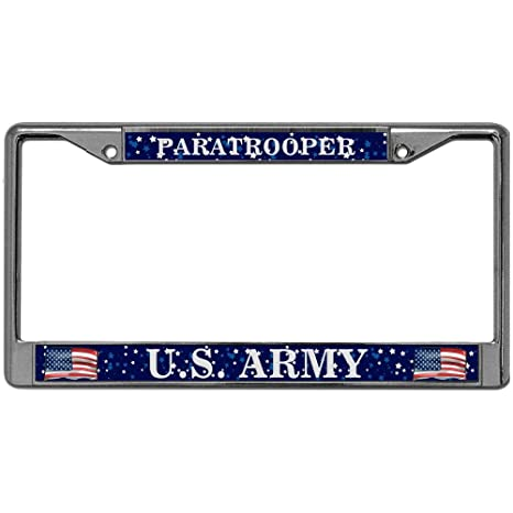5849e1340 GND License Plate Frame Paratrooper US Army Premium Stainless Steel License  Plate Frame Standard Fit License