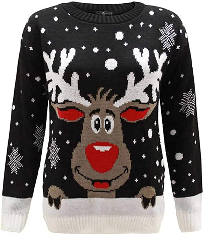 Women Sweater Christmas Jumper Top Ladies Novelty Casual Knitted O Neck Sweater