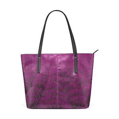 Amazon.com  LEISISI Purple Flower Sea Women s Leather Tote Shoulder ...