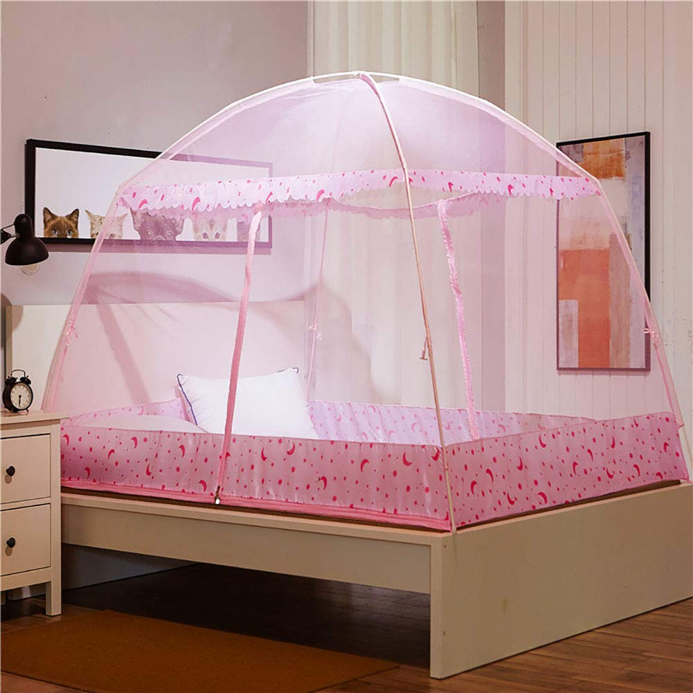 Mosquito Net Bed Canopy Yurt Bed Type Two-Door Zipper Net Tent Bracket Heightening Anti-Mosquito Indoor/Outdoor Decorative Height 150CM,Pink,120200CM