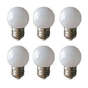 LED G14 Light Bulb 1W Soft White 3000K Not Dimmable LED Energy Saving Light Bulbs 10 Watt Equivalent LED Lights for Home E26 6 Pack(1W-E26-Soft White-3000K)