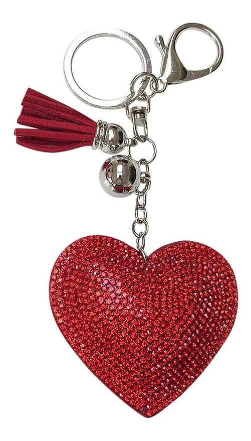 Joyeria Bolsa, Llavero Corazón Strass Cristal Rojo.: Amazon ...