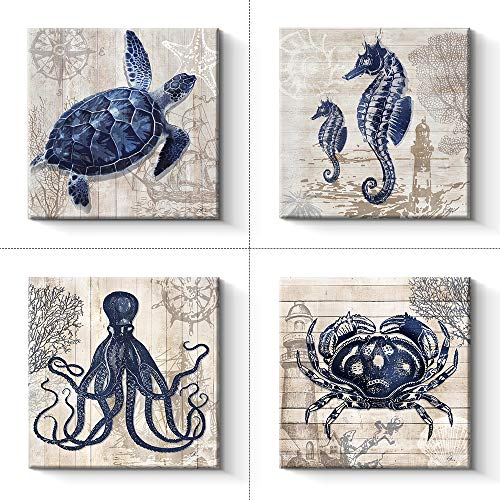 Ocean Pictures Animals - Pinetree Art 4 Panel Bathroom Wall Art Decor - Ocean Theme Canvas Prints Sea Animal Octopus Seahorse Crab Turtle Pictures Livingroom Posters - 12 x 12 x 4 pcs (12