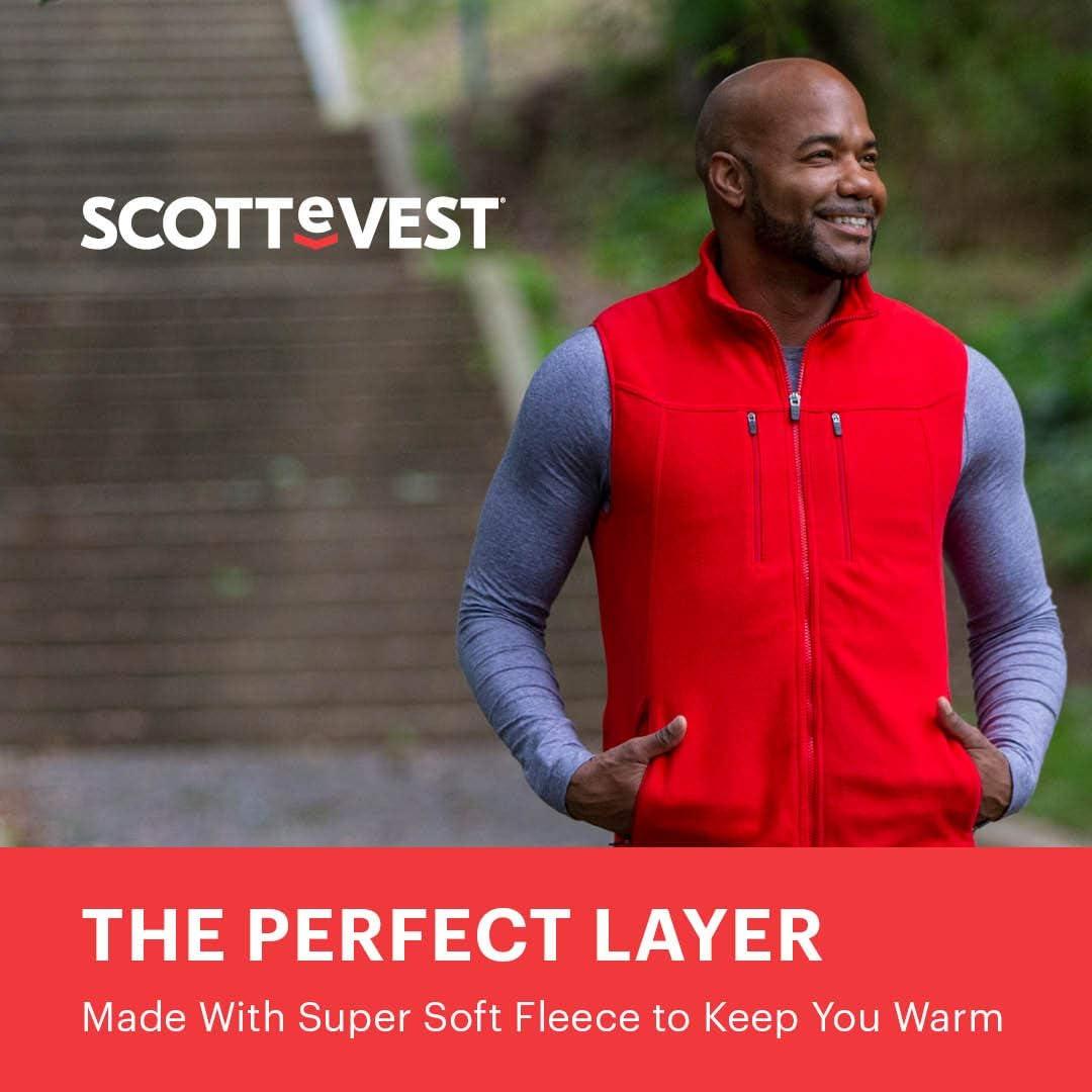 15 Pockets SCOTTeVEST Fireside Fleece Vests for Men Warm Fleece Travel Vest