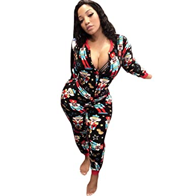 1f3dcabe Women's One Piece Onsie Sleepwear Family Matching Christmas Pajamas  Jumpsuit Rompers Clubwear Black