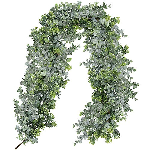 Supla Mixed Eucalyptus Leave Garland Boxwood Garland Artificial Greenery Garland Wedding Garland Jungle Woodland Leaf Hanging Greens for Holiday Backdrop Table Centerpiece Indoor Outdoor ()