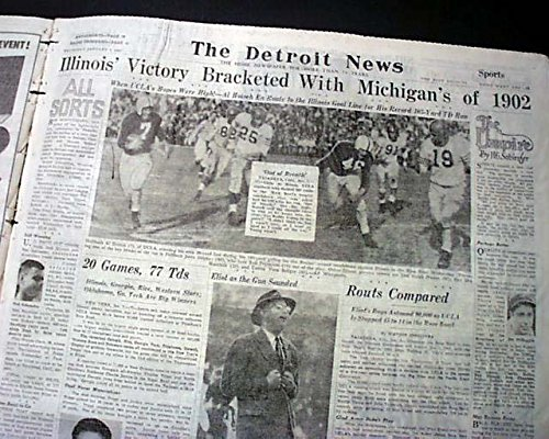 ILLINOIS FIGHTING ILLINI College Football Rose Bowl Victory Photo 1947 Newspaper THE DETROIT NEWS, Michigan, January 2, 1947