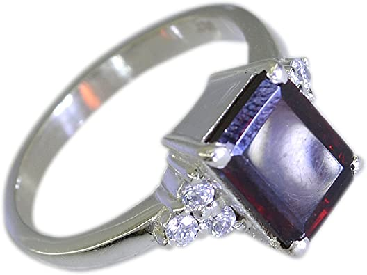 Prong Set Garnet with Cubic Zirconia Gemstone 925 Sterling Silver Ring Jewelry