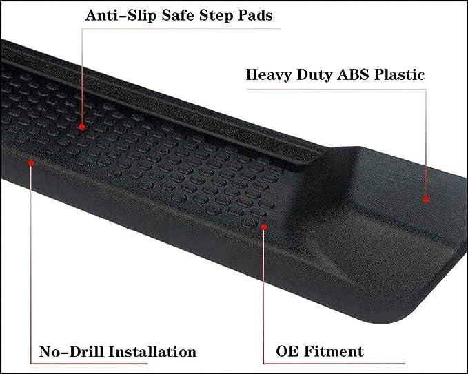 AOKAILI Pair 6 Black Running Side Step Board Nerf Bar Fit 2018-2020 Jeep Wrangler 2Door JL