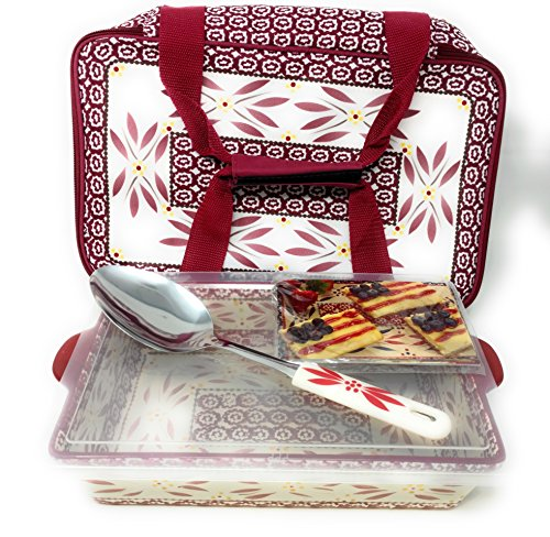 Temp-tations 11 inchx7 inch 2.5 Quart Baking Dish, Insulated Tote, Plastic Cover & Spatula (Old World Cranberry)