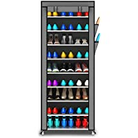 Styleys Multipurpose Portable Folding Shoes Rack 9 Tiers Multi-Purpose Shoe Storage Organizer Cabinet Tower with Iron and Nonwoven Fabric with Zippered Dustproof Cover