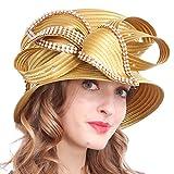 VECRY Women's Dressy Church Baptism Wedding Derby Hat (Rhinestone-Gold)