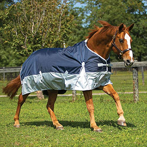 Dura-Tech Viking Horse Turnout Sheet | Euro Fit | Navy Blue - Equine Size 82 | 2 Buckle Open Front | 1680D Waterproof, Windproof & Breathable Outer Cover | Criss-Cross Surcingle