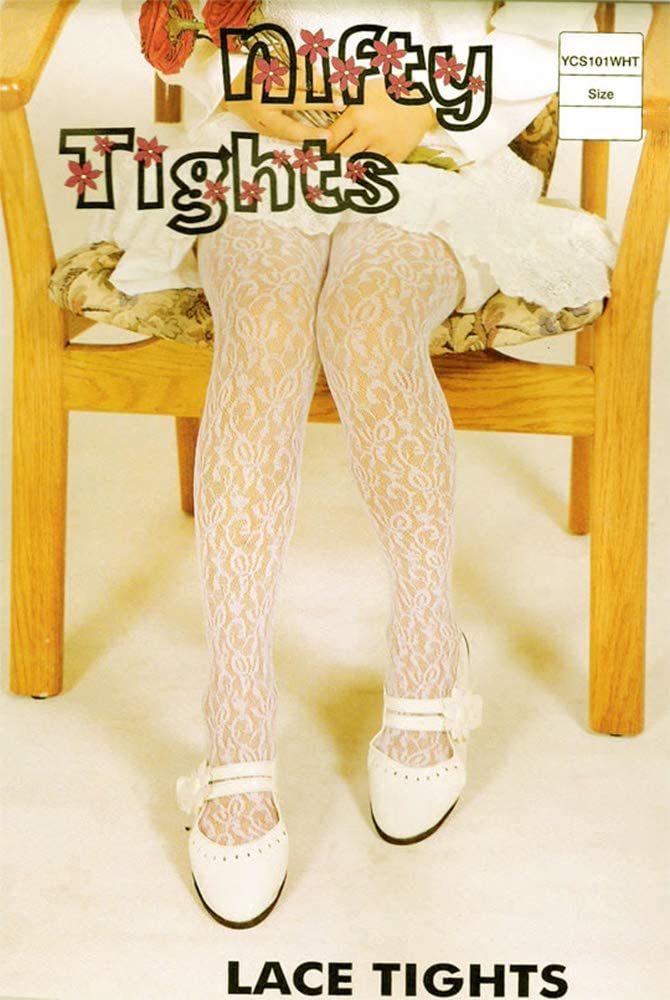 Size 7-10 Years Baby Girls lacy Tights in Ivory