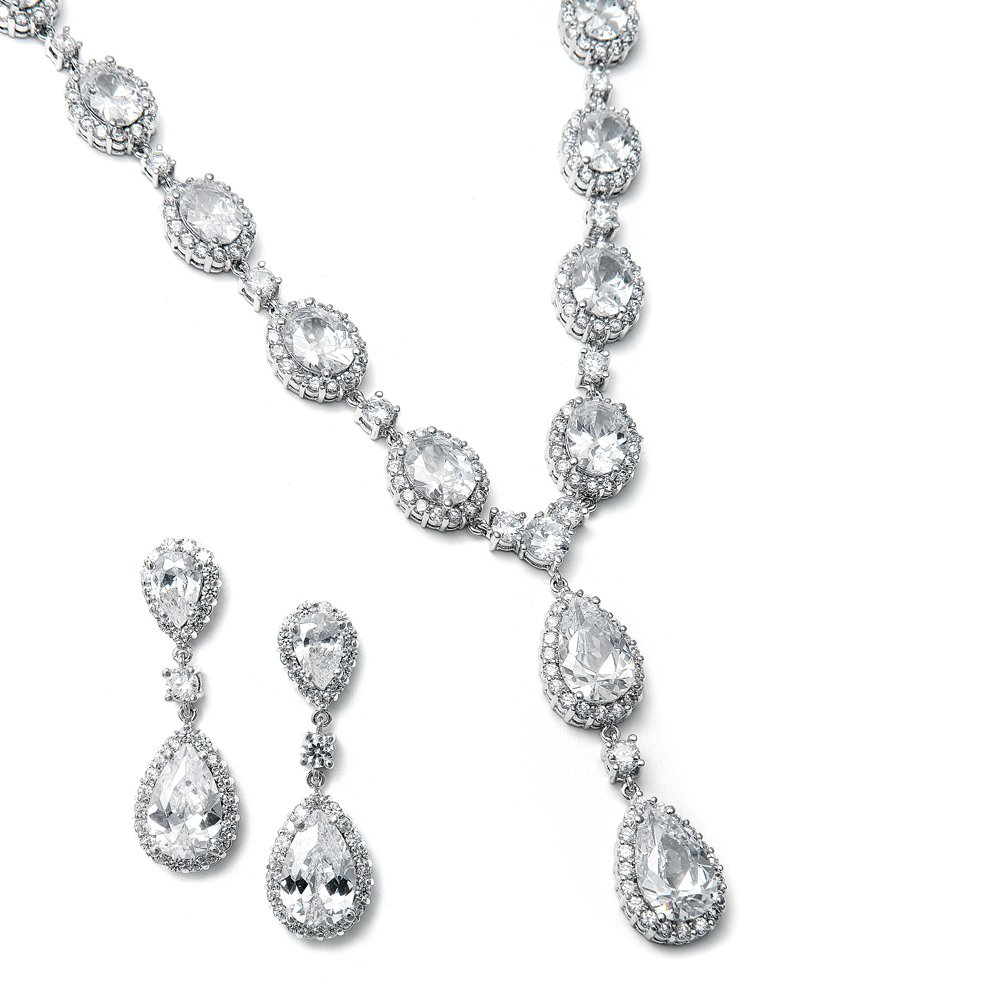 Mariell CZ Statement Necklace Earrings Set for Weddings, Brides, Pageants - Pear Shaped & Oval-Cut Halos