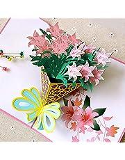 Tarjeta 3D, Tarjeta Pop-up de Cumpleaños,Tarjeta Felicitación de Primavera, Tarjeta de Navidad/Bodas/San Valentin/Dia de la madre/Graduación