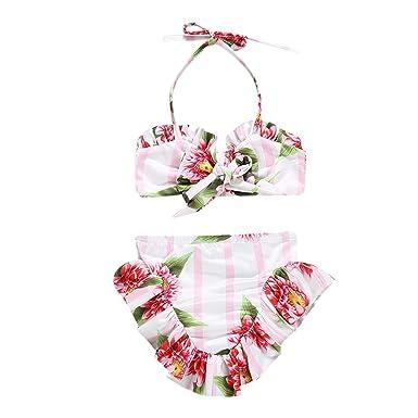 6e55a0d2b85aa Voberry Kids Baby Girls Floral Print Vest Summer Swimwear Swimsuit Bikini  Outfits White