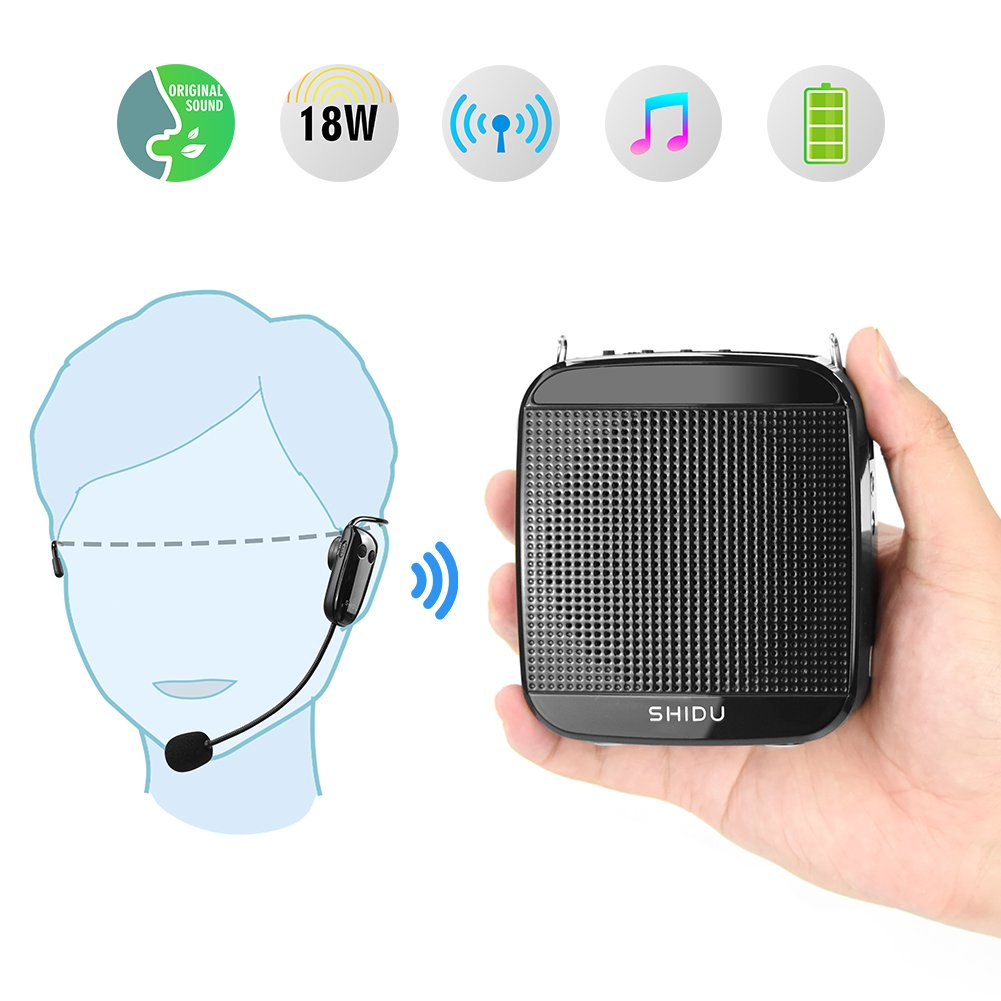 Portable Voice Amplifier Wireless,SHIDU 2.4G 18W Personal Wireless Microphone Headset with Speaker Rechargeable Mini PA System for Teachers,Singing,Fitness Instructors,Classroom,Tour Guides,Outdoors