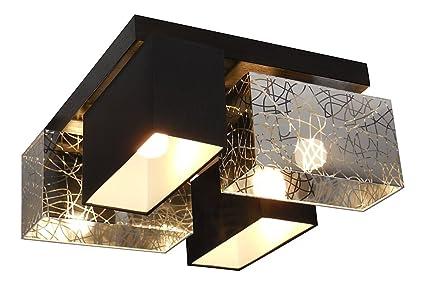 Plafonnier Led4 Wero PlafonnierAppliqueLampe 004 Bilbao – AmpoulesBoisPlastiqueChromé Argentnoir Design vm80ONnw