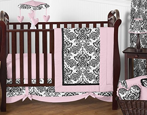 (Pink and Black Damask Sophia Girl 11pc Girl Bedding Crib Set Without Bumper)
