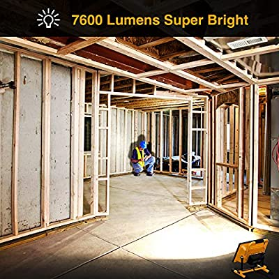 Onforu 80W 7600LM LED Work Light (800W Equivalent), 2 Brightness Levels, 16.4ft/5m Power Cord with Plug, Waterproof Flood Lights with Stand for Workshop, Construction Site, 5000K Daylight White