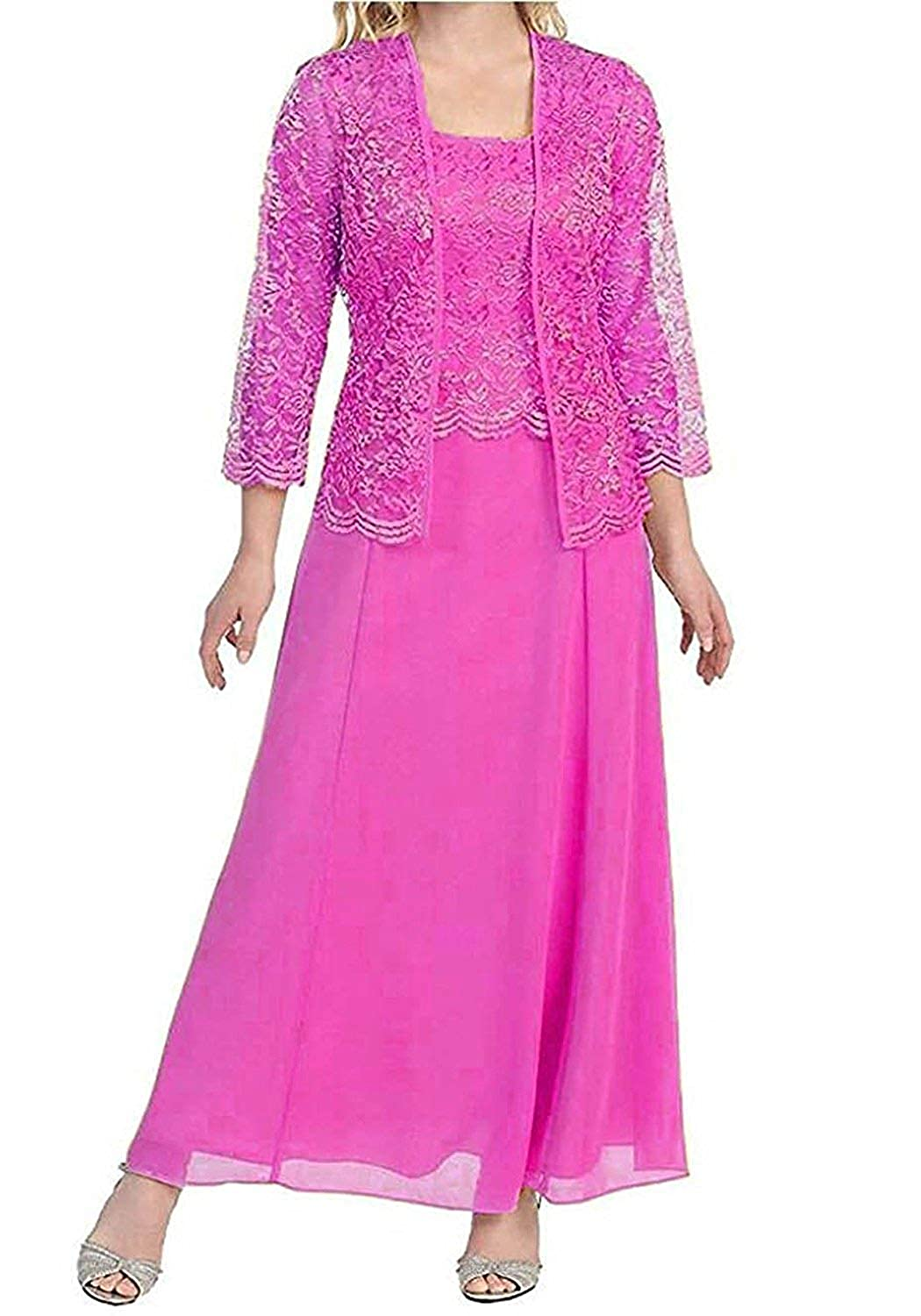 Fuchsia Mother of The Bride Dresses with Jackets Formal Evening Gowns Long Sleeves Lace Mother Dress