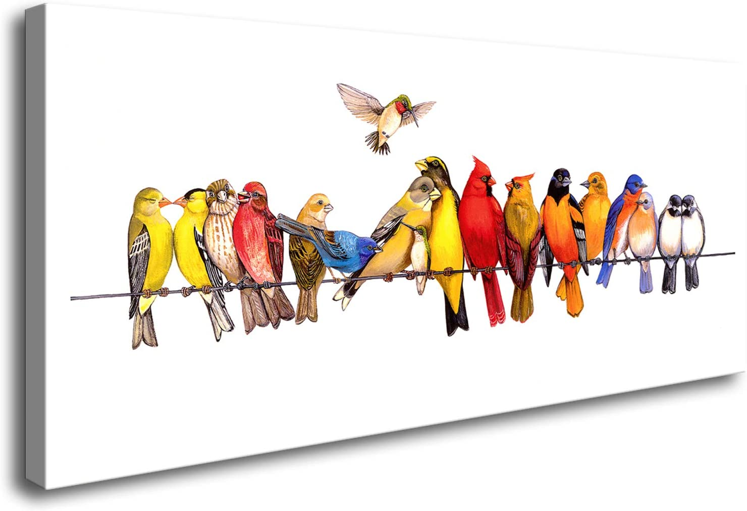 DZL Art D73150 Birds On A Wire Wall Art Birds Wall Decor Birds Print Canvas Painting Bird Lover Gift for Living Room Bedroom Office Wall Decor Home Decoration
