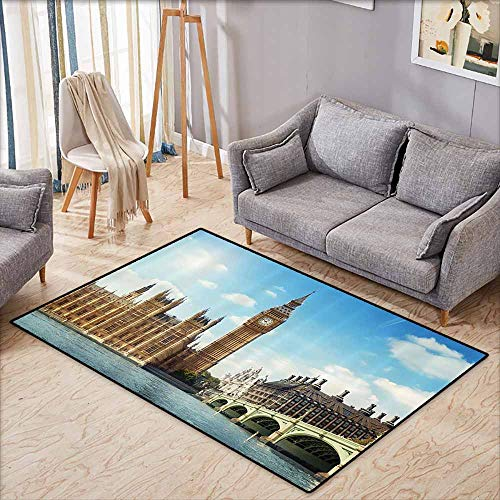 (Indoor/Outdoor Rug,London Decor Collection,Scenery of Iconic Big Ben Westminster Bridge Thames River and Houses of Parliament,Anti-Slip Doormat Footpad Machine Washable,3'3