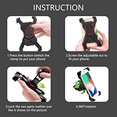 Galaxy S20//S9 Bicycle Phone Holder Universal Adjustable Motorcycle Handlebar Stand Cradle Clamp for iPhone 11 Pro Max//XR//XS Max//8//7// 6//6s Plus Bike Phone Mount