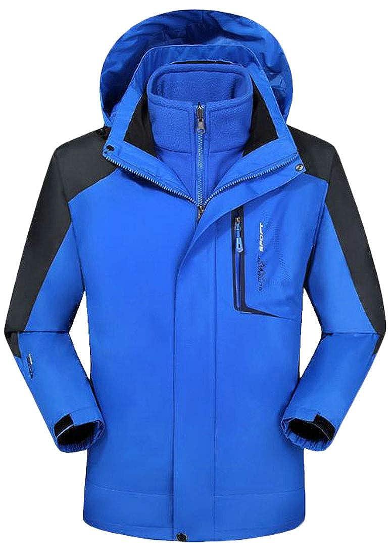 Macondoo Mens Hiking Winter Outdoor Mountain 3-in-1 Fleece Ski Raincoat Jacket