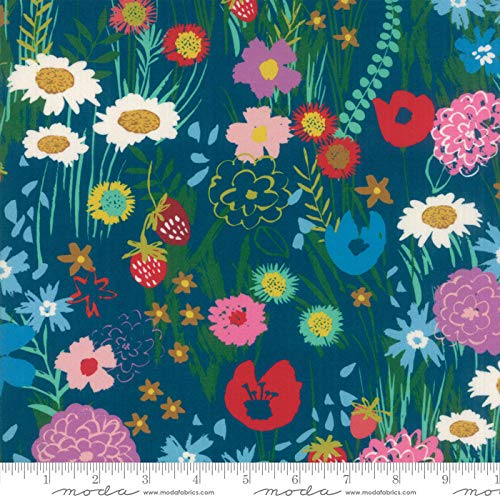 Growing Beautiful Moda Cotton Quilt Fabric Wildflowers Teal Style -