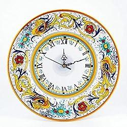 Fima Hand Painted Italian Ceramic 11-inch Wall Clock Raffaellesco - Handmade in Deruta