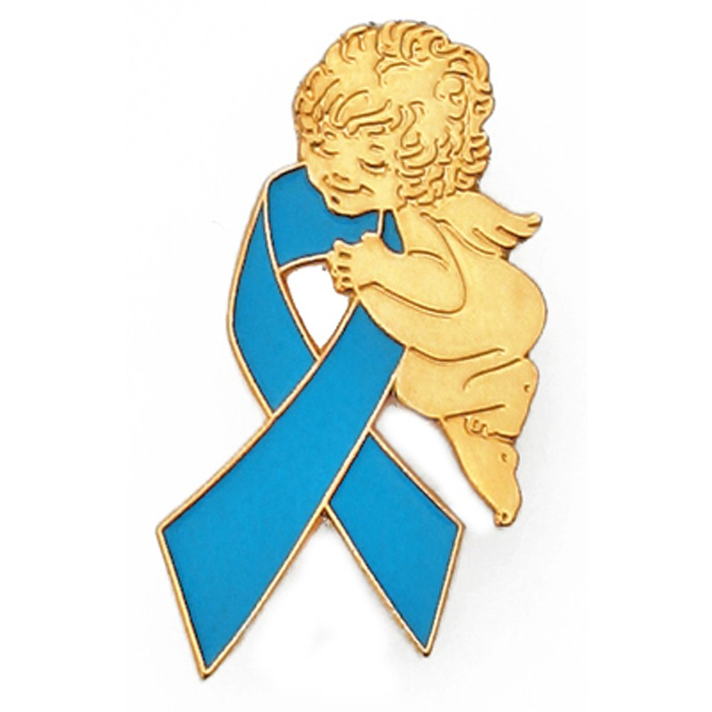 PinMart Light Blue Awareness Ribbon Religious Spiritual Angel Enamel Lapel Pin