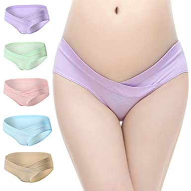 24028671e872d BOOPH Women s Under The Bump Cotton Maternity Panties Hipsters Underwear 5  of Pack Medium