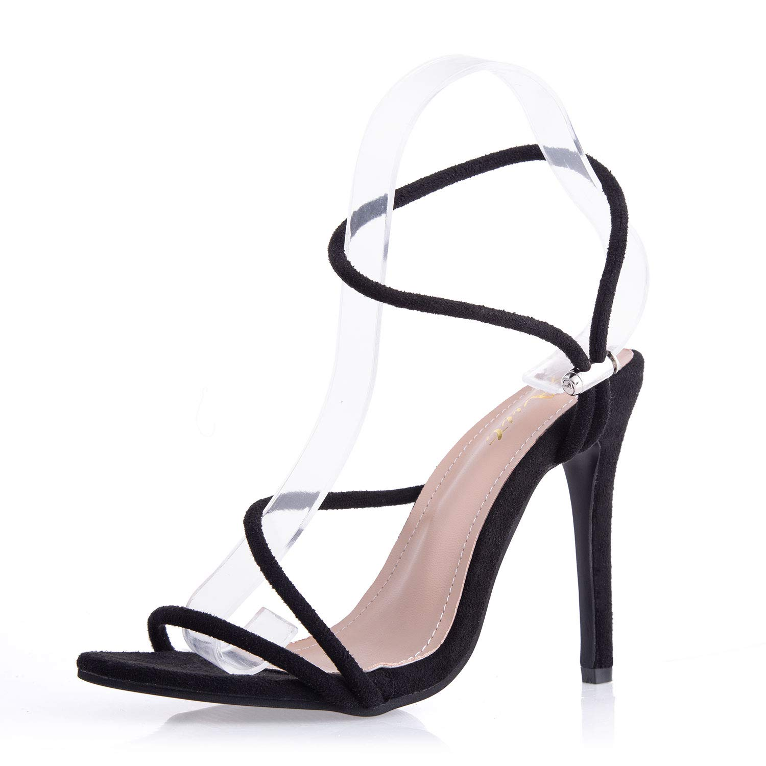 6ed146a11 AIIT Women's Stiletto High Heel Sandals Black Suede Multi Cross Ankle Strap  with Drawstring Buckle Elegant Open Toe Fashion Dress Party Wedding Shoes  for ...