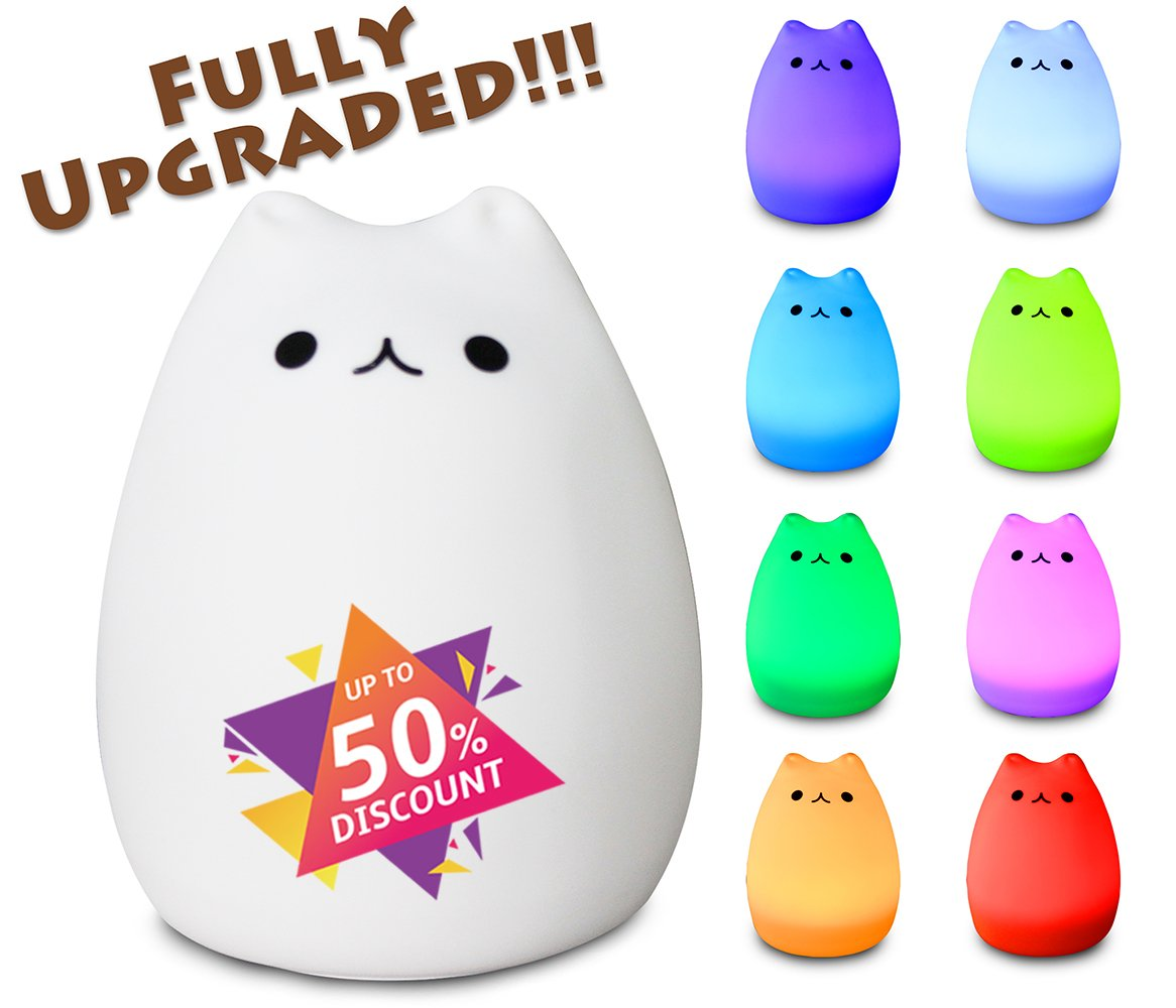 X-CHENG night light - 3-Modes Portable Silicone LED Night Lamp - 8 single colors mode and 8-color breathing light mode - adorable animals' appearance - USB charging - best nightlight for baby