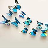 12 PC 3D Mariposa Imán Pegatina Diseño Adhesivo Adhesivos De Pared Decoración Hogar - Azul