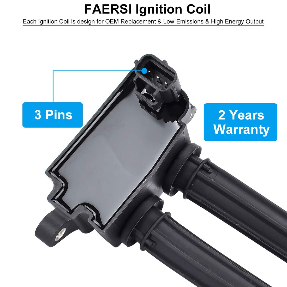 FAERSI Ignition Coil Pack of 6 Replaces OE# UF401 IGC0007