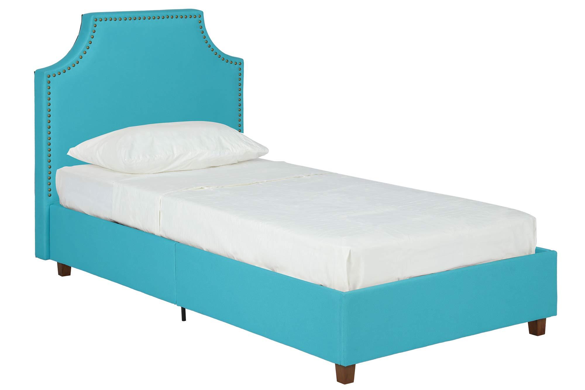 DHP Melita Linen Upholstered Platform Bed Frame, Teal, Twin by DHP