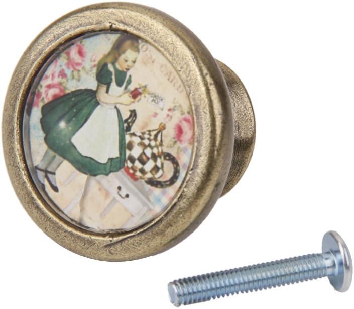 2 St/ü Vintage Messing Schrankt/ür Schublade Schrank Kommode Zieht Griff Kn/öpfe Mit Schrauben M/ädchen Blume Vogel
