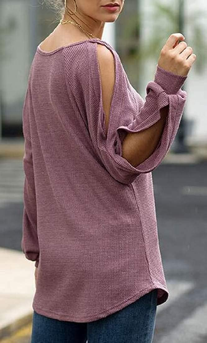 Abeaicoc Womens Waffle Slit Sleeve Knit Cold Shoulder Crewneck T-Shirt Blouse