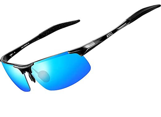 b1c8f3aaee1 ATTCL® New Fashion Sports Driving metal Frame Polarized Sunglasses for Men  (8177 BLACK-BLUE)  Amazon.co.uk  Clothing