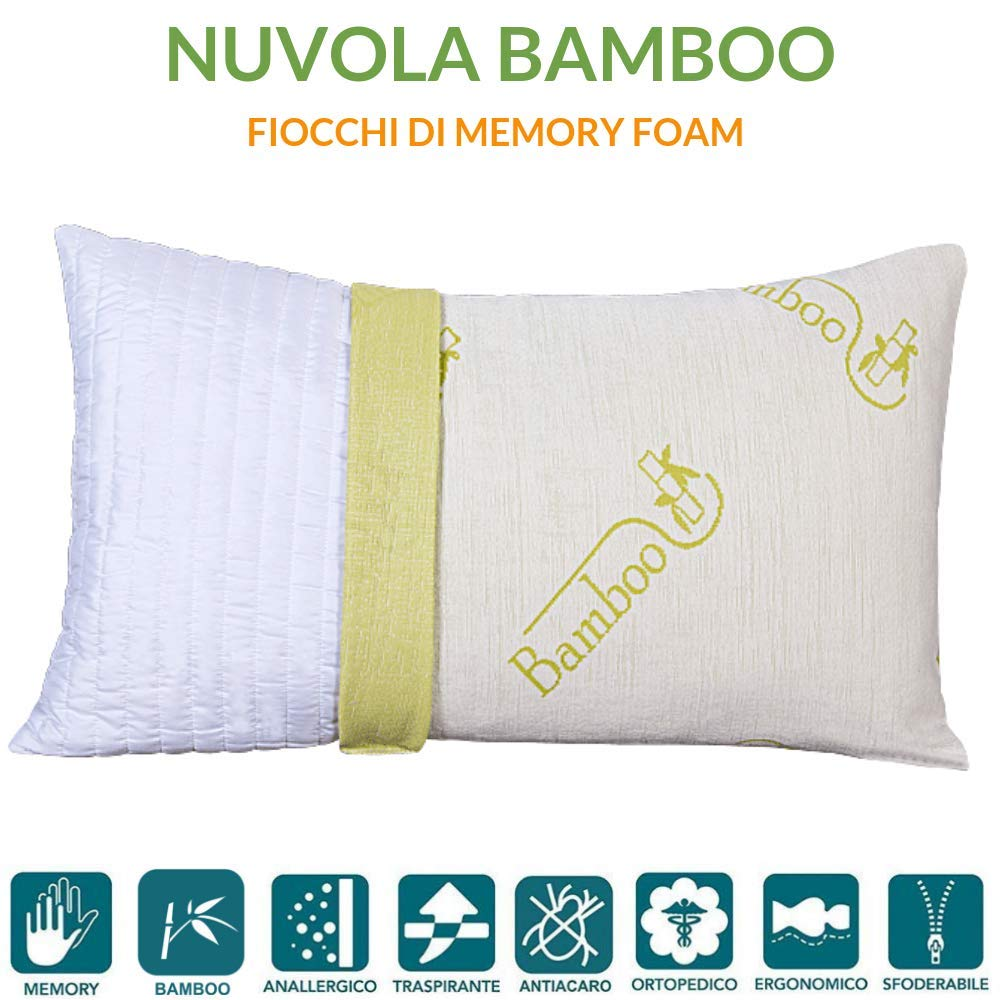 Cuscini Adatti Per La Cervicale.Cuscino Fiocco Di Memory Foam Fodera Fibra Di Bamboo Adatto Per