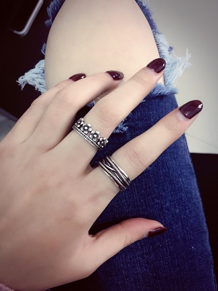 Generic s925 sterling silver Thai silver finger ring opening retro women girls lady South Korea to do the old multi-layered wide face twist personality tide