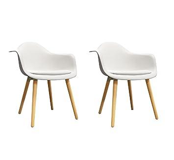 Meubletmoi – Juego de 2 sillas Blancas reposabrazos – sillones Design Vintage escandinavo – pies Madera – Confortable y Resistente – Hans