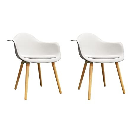 Meubletmoi Set di 2 sedie bianche schienale - Sedie design vintage ...