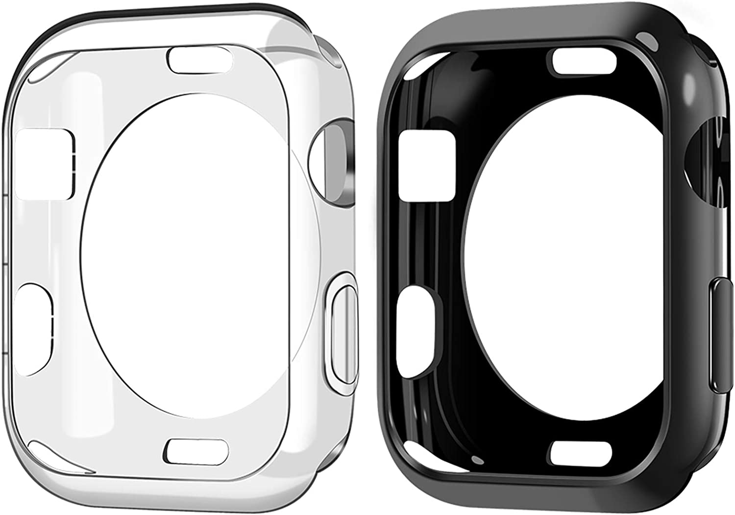Goton Compatible iWatch Apple Watch Case 38mm Series 3 2 1, (2 Packs) Soft TPU Shockproof Case Cover Bumper Protector (Black and Clear, 38mm)